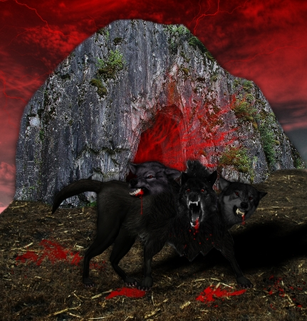 hound: this is kerberos, guard of hell gate Stock Photo
