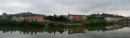 Beautiful panoramic view of Florence with reflections in the Arno River  photo