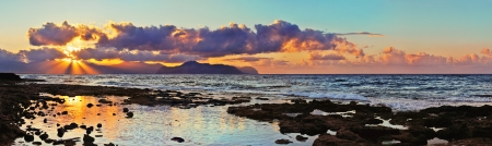 Panoramic view from the coast of Aspra  Sicily   In the distance one can see the coast of Palermo Stock Photo - 13647828