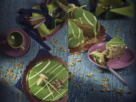 craquelure: A collage of two photos, which depicted pistachio mousse and colorful tableware  The second part shows the closeup of a piece of mousse