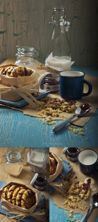 craquelure: Collage of  three photos showing peanut cookies, jars with jam and condensed milk, bottle with milk on the craquelure background