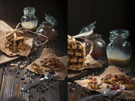Collage of two photos showing peanut biscuits, chocolate drops and jars with jam and condensed milk made in the technique of low key photo