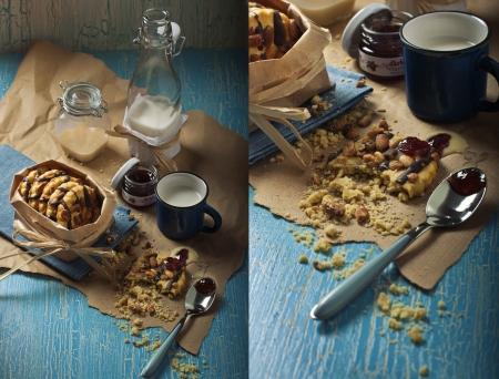 craquelure: Collage de las dos fotos que muestran las galletas de man�, tarros con mermelada y leche condensada, una botella de leche en el fondo craquelure
