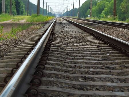 Railroad Track Close-Up Blurred Background