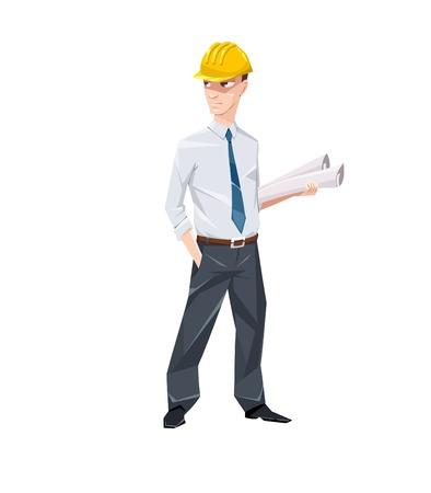 Engineer met documenten in harde hoed Vector Illustratie