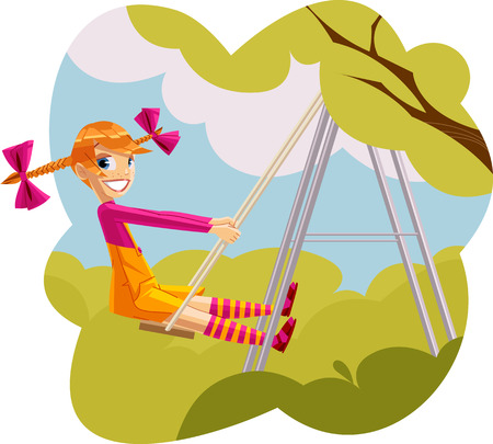 red haired girl: Young red haired girl swinging the park