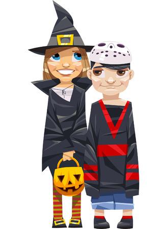 maniaco: I bambini vestiti da strega e jason maniaco pronto per halloween Vettoriali