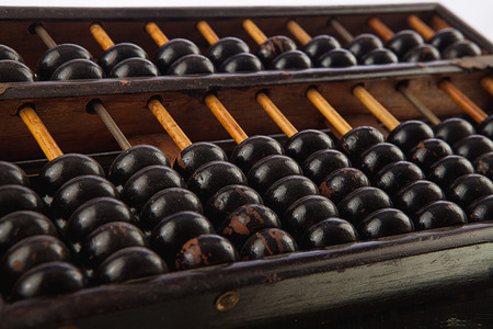 Closeup of a vintage abacus Stock Photo