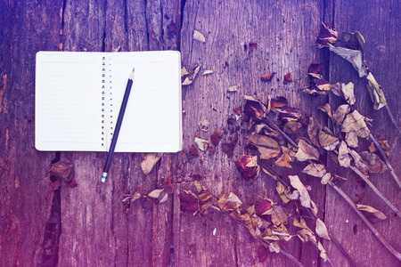 notebook,pencil and dried roses on vintage background Stock Photo