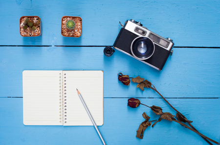 book and pencil,cactus,dry rose and old camera on blue wooden table