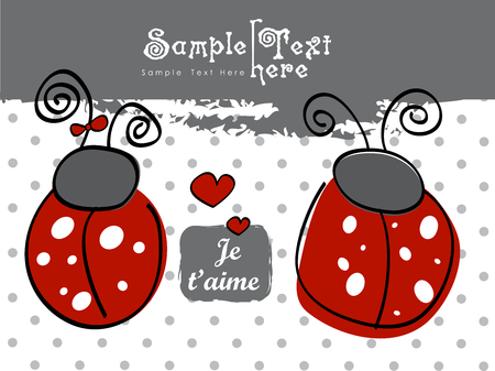 Two red Ladybugs and hearts