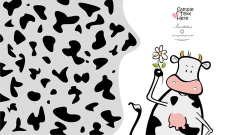 Lovely cow and a flower / Cow skin pattern