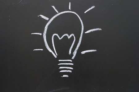 dessin craie: Comme repr�sentant la lumi�re de nouvelles id�es Banque d'images