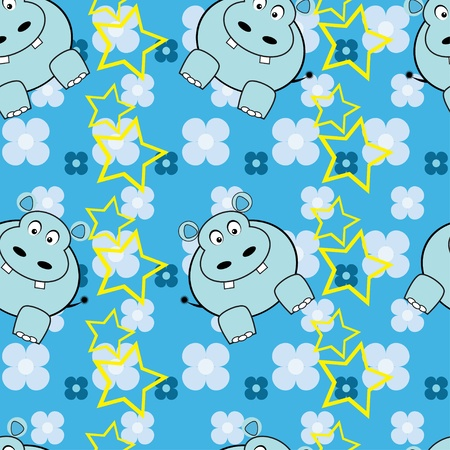 Funny hippopotamus seamless pattern