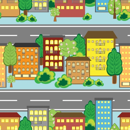 Seamless background with cartoon town pattern  Vector