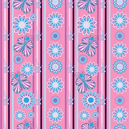 Flower and butterfly seamless background Vector