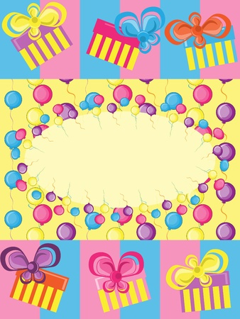 Greeting card with gifts and balloons Vector