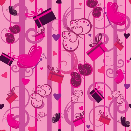valentine seamless pattern with gifts and hearts  Vector