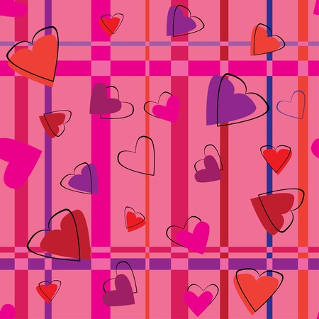 valentines seamless pattern with hearts Illustration