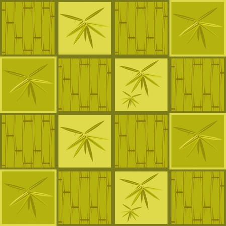 Seamless pattern with bamboo on green background