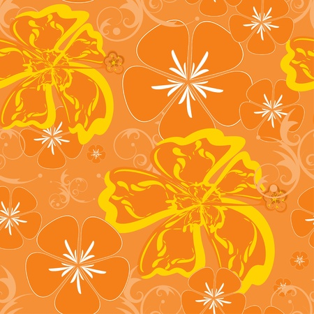 Seamless Orange Hawaii Pattern