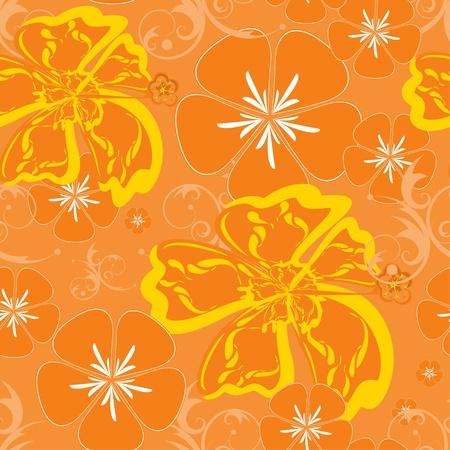 hula: Seamless Orange Hawaii Pattern