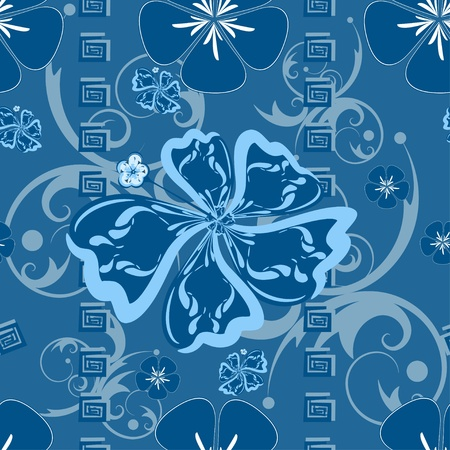 Seamless Blue Hawaii Pattern  Vector