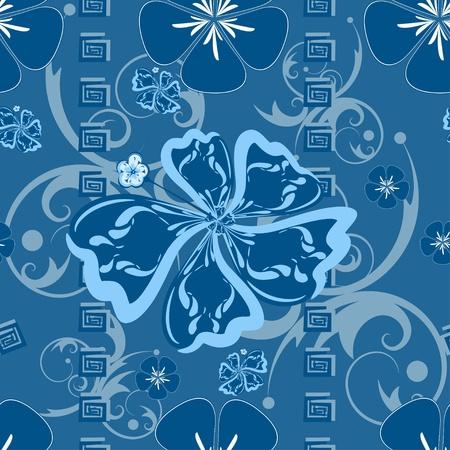 polynesian: Seamless Blue Hawaii Pattern