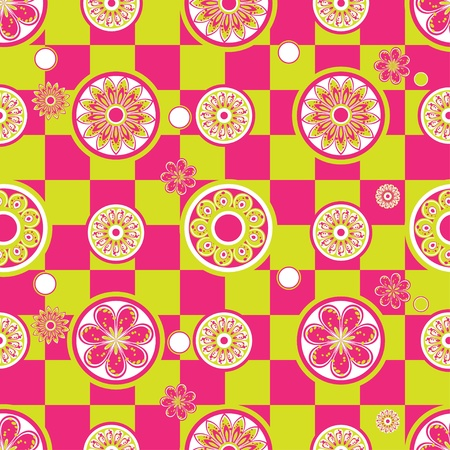 Abstract seamless pattern with flowers and circles Vector