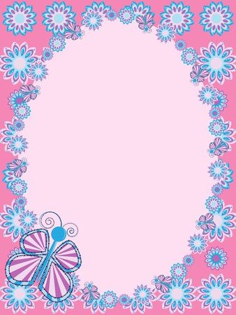 Greeting card with flower and butterfly