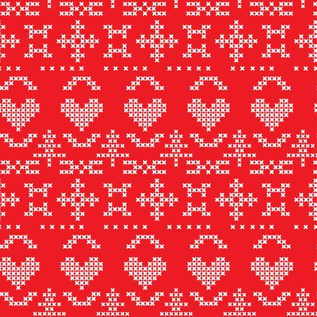 Folklore seamless pattern on red background Vector