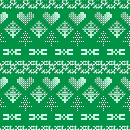 Folk seamless pattern with hearts and snowflakes Vector
