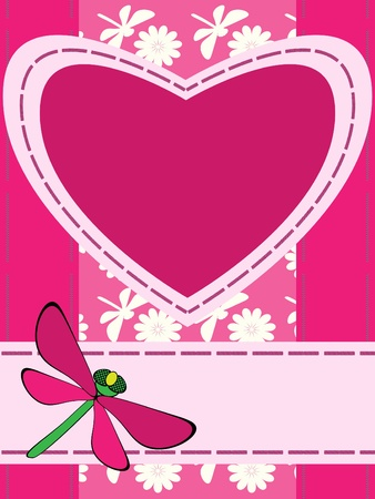 Greeting card with heart and dragonfly Vector