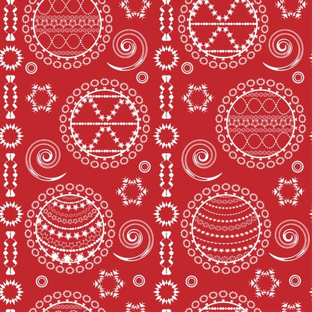 Christmas pattern with balls and snowflakes  Vector