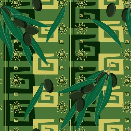 Seamless pattern with olives