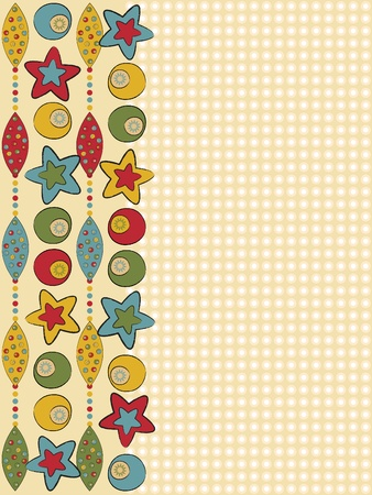 cotton fabric: Card greeting with balls and stars