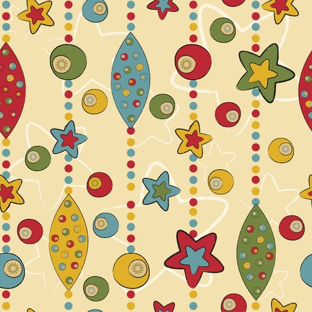 repeated: Seamless pattern with balls and stars