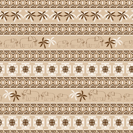 Seamless patterns with elephants and palms  Vector