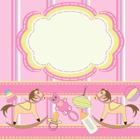 Invitation card for babies with toys Vector