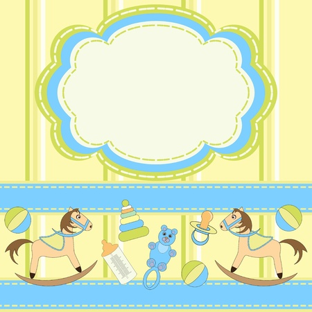 Babies greeting card with toys Vector