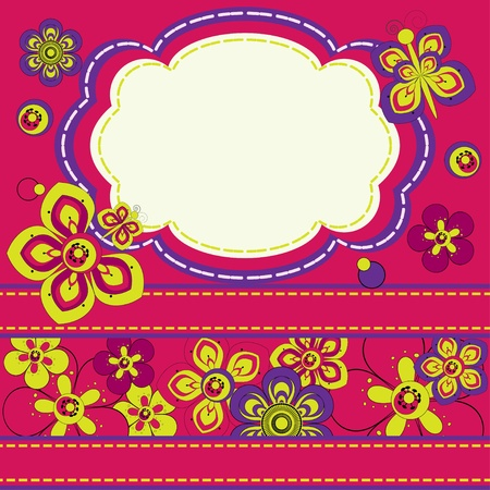 Invitation card with flowers and butterflies  Vector