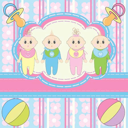 Greeting card for four newborn babies  Vector