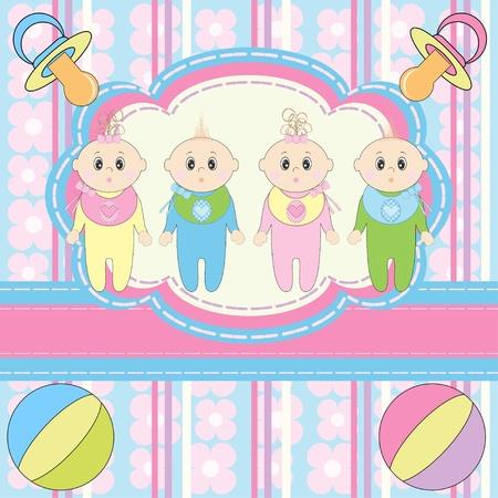 Greeting card for four newborn babies  Illustration
