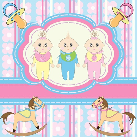 regards: Greeting card for babies triplets  Illustration