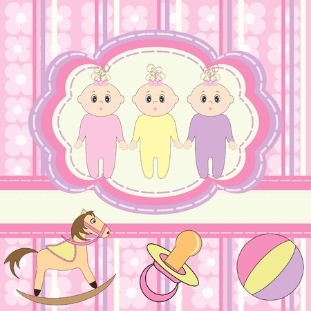 Greeting card for little girls triplets  Vector