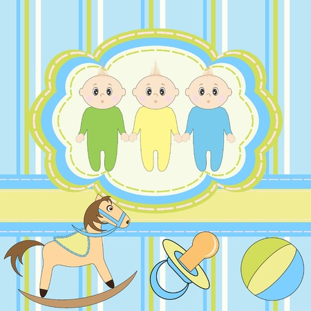 Greeting card for little boys triplets  Vector