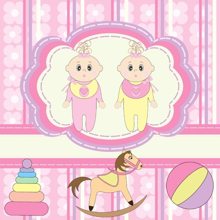 Greeting card for twins little girls  Vector