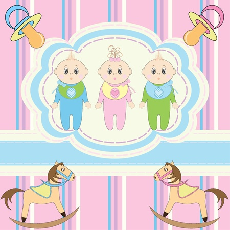 new born baby girl: Greeting card for babies triplets  Illustration