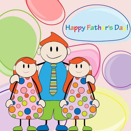 Happy Father s Day Dad and twins girls Vector