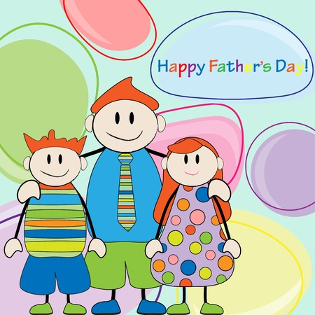 Happy Father s Day Father and twins Stock Vector - 12496865